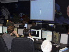 Students watch the launch of LRO and LCROSS from the GAVRT control room.
